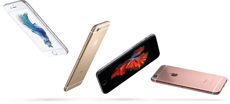 iPhones 6s coloridos voando