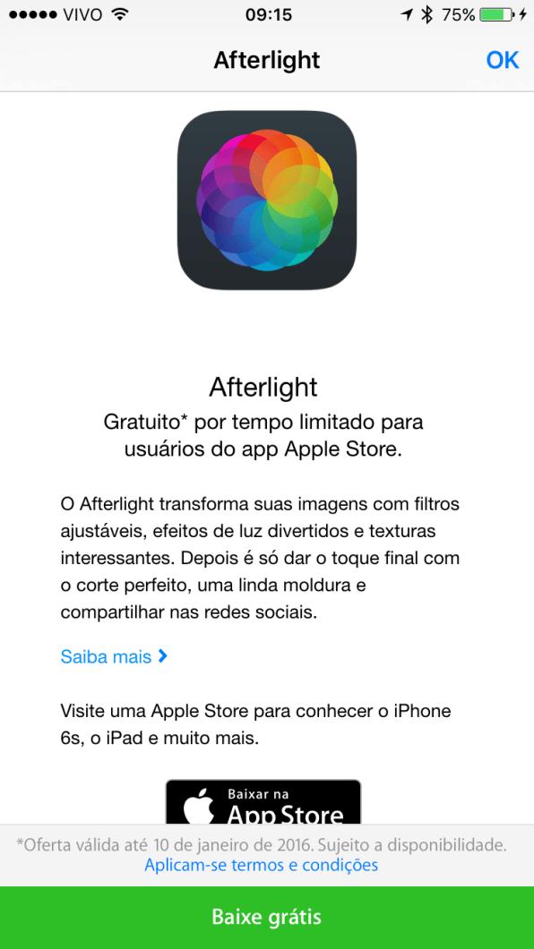 Afterlight de graça pelo Apple Store