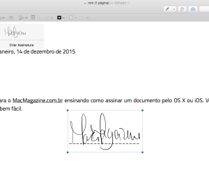 Assinando um documento no Mac