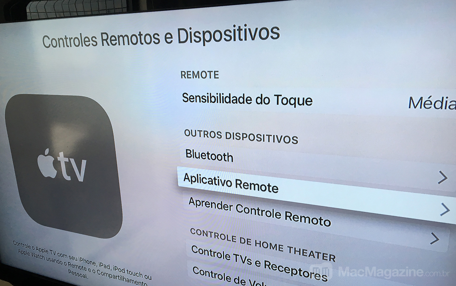 Controlando a Apple TV com o Apple Watch
