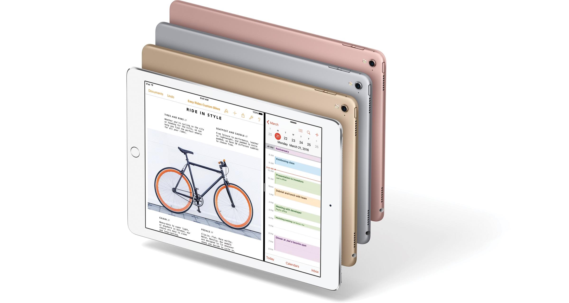 Família do iPad Pro de 9,7 polegadas com as quatro cores voando