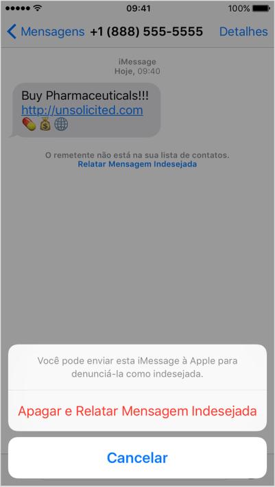 SPAM enviado pela rede iMessage