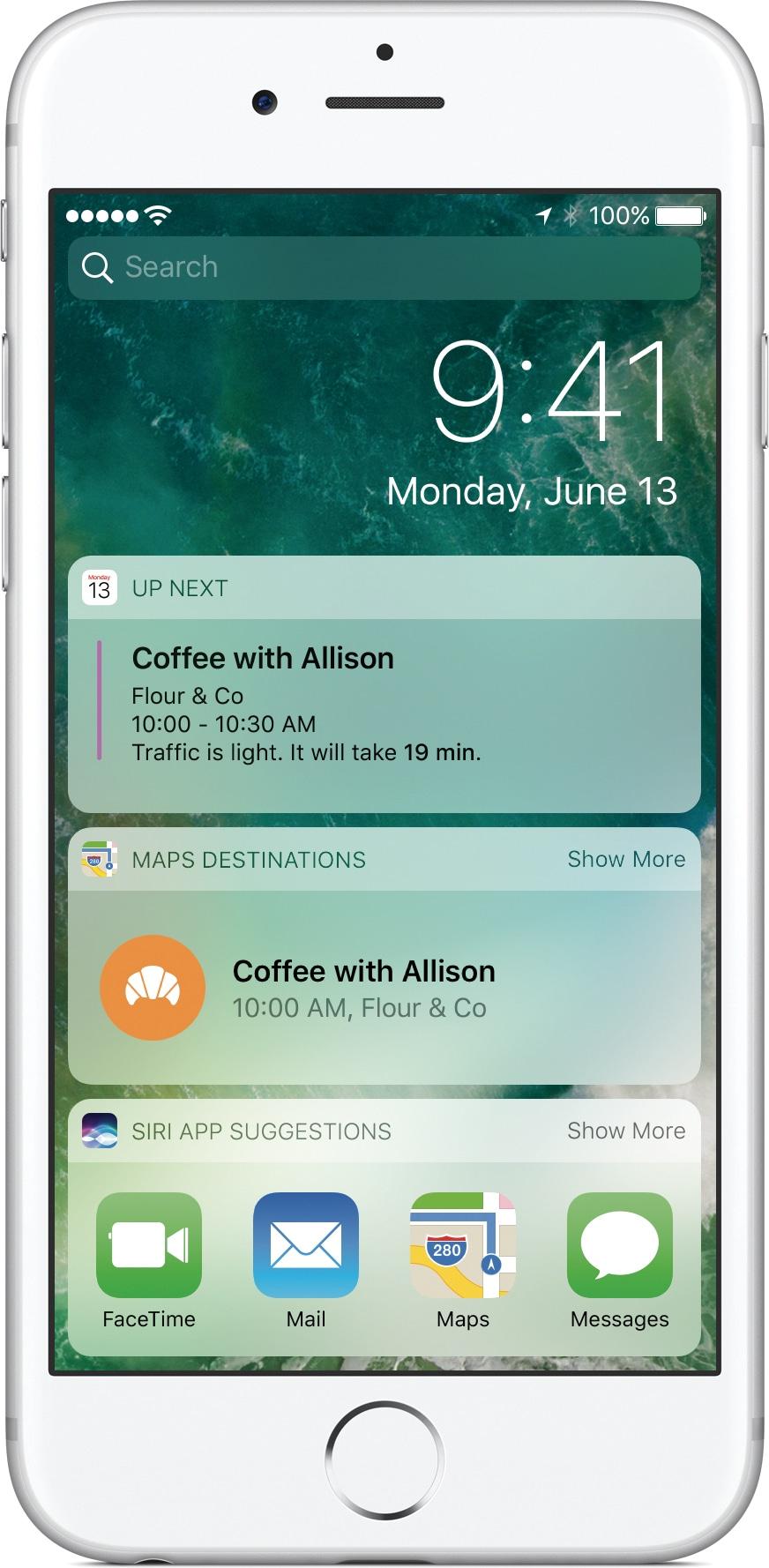 Tela Bloqueada do iOS 10 num iPhone