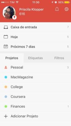 Todoist menu iOS