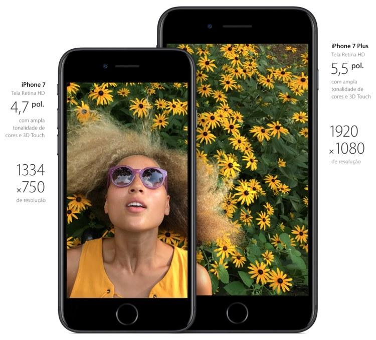 Comparativo de telas - iPhones 7 e 7 Plus
