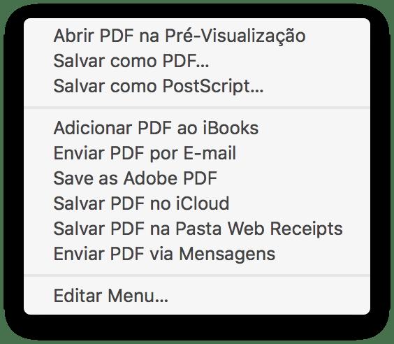 Opções para salvar em PDF no macOS