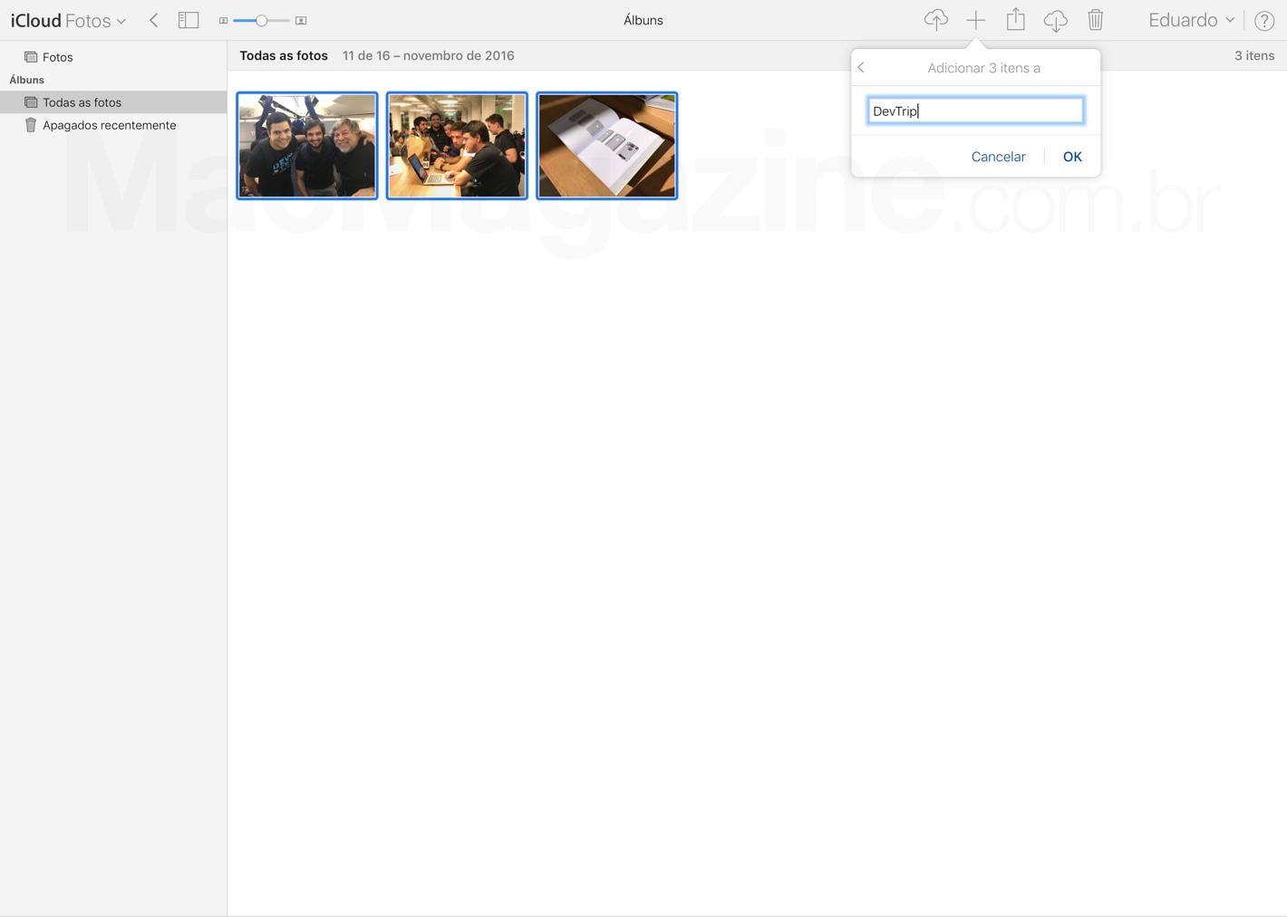 Web app Fotos do iCloud.com