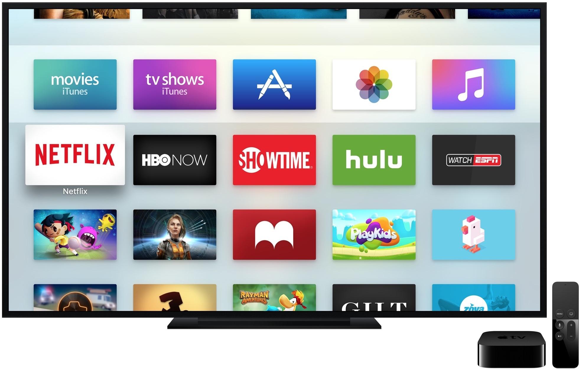 Apple TV com diversos apps, incluindo o PlayKids