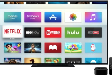 Apple TV com diversos apps, incluindo o PlayKids