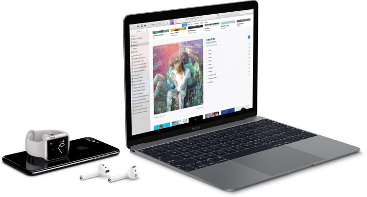MacBook, iPhone, Apple Watch e AirPods numa mesa branca