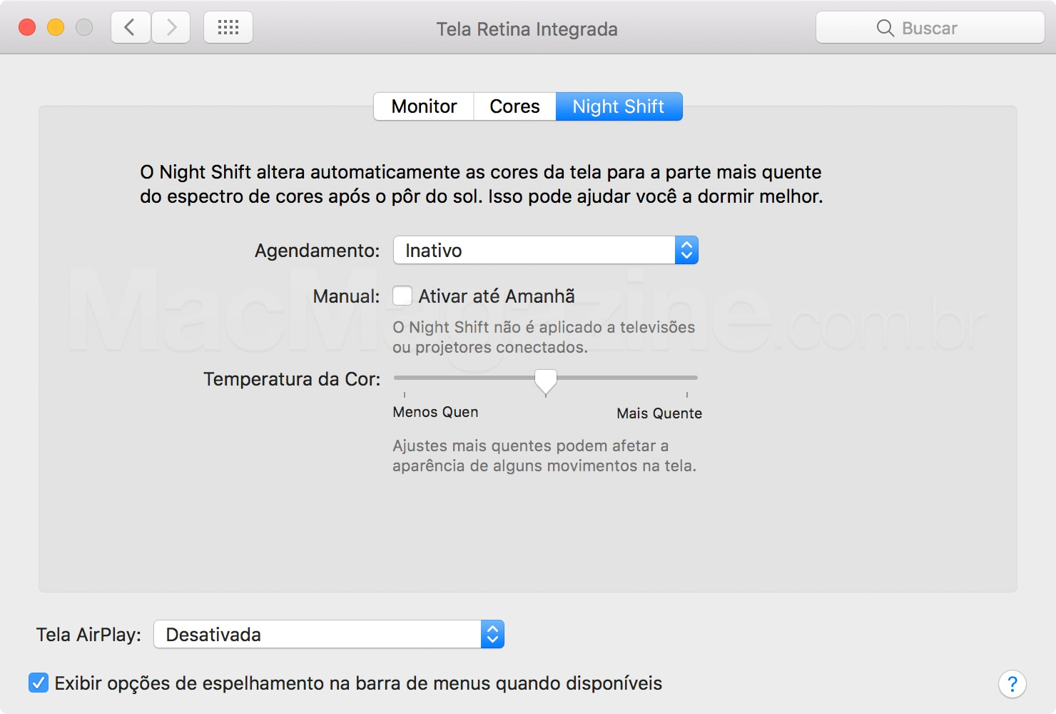 Night Shift no macOS Sierra 10.12.4 beta