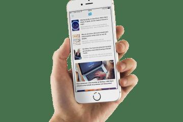 App do MacMagazine num iPhone segurado com as mãos, versão 3.1