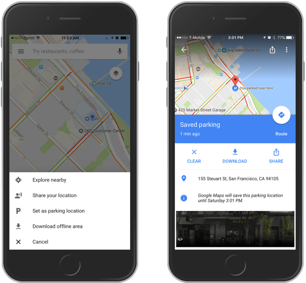 Google Maps Estacionamento