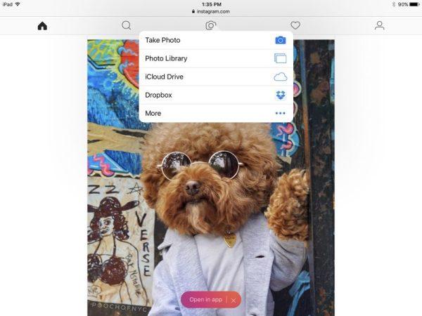 Novo site móvel do Instagram num iPad