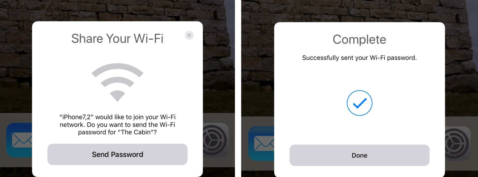 Tela de compartilhamento do WiFi no iOS 11