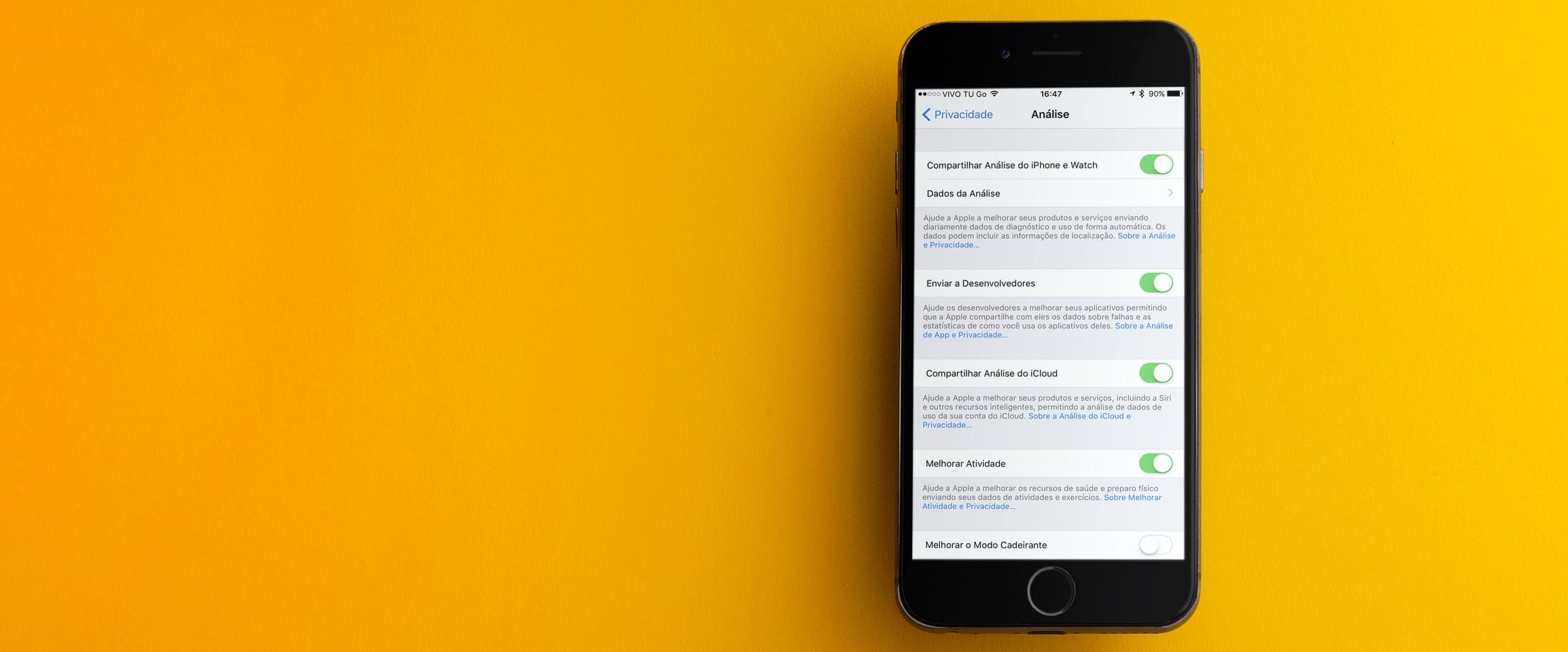 Ajustes de privacidade (diferencial) no iOS