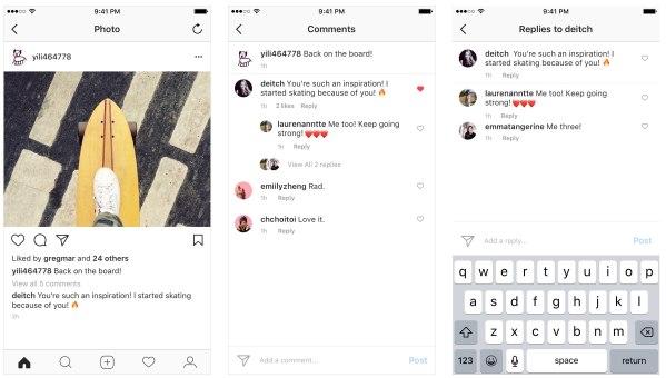 Encadeamento de respostas nos comentários do Instagram