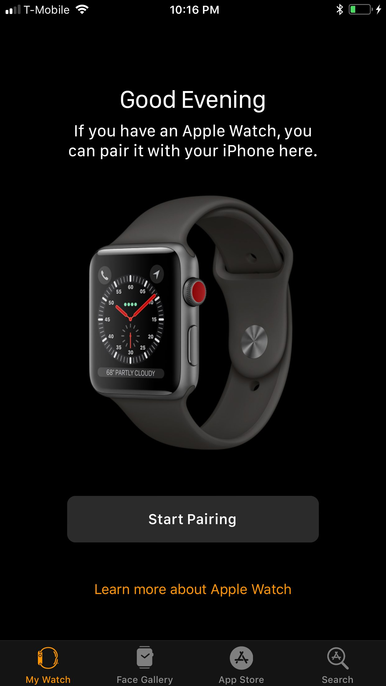 Tela de configuração do Apple Watch LTE no iOS 11