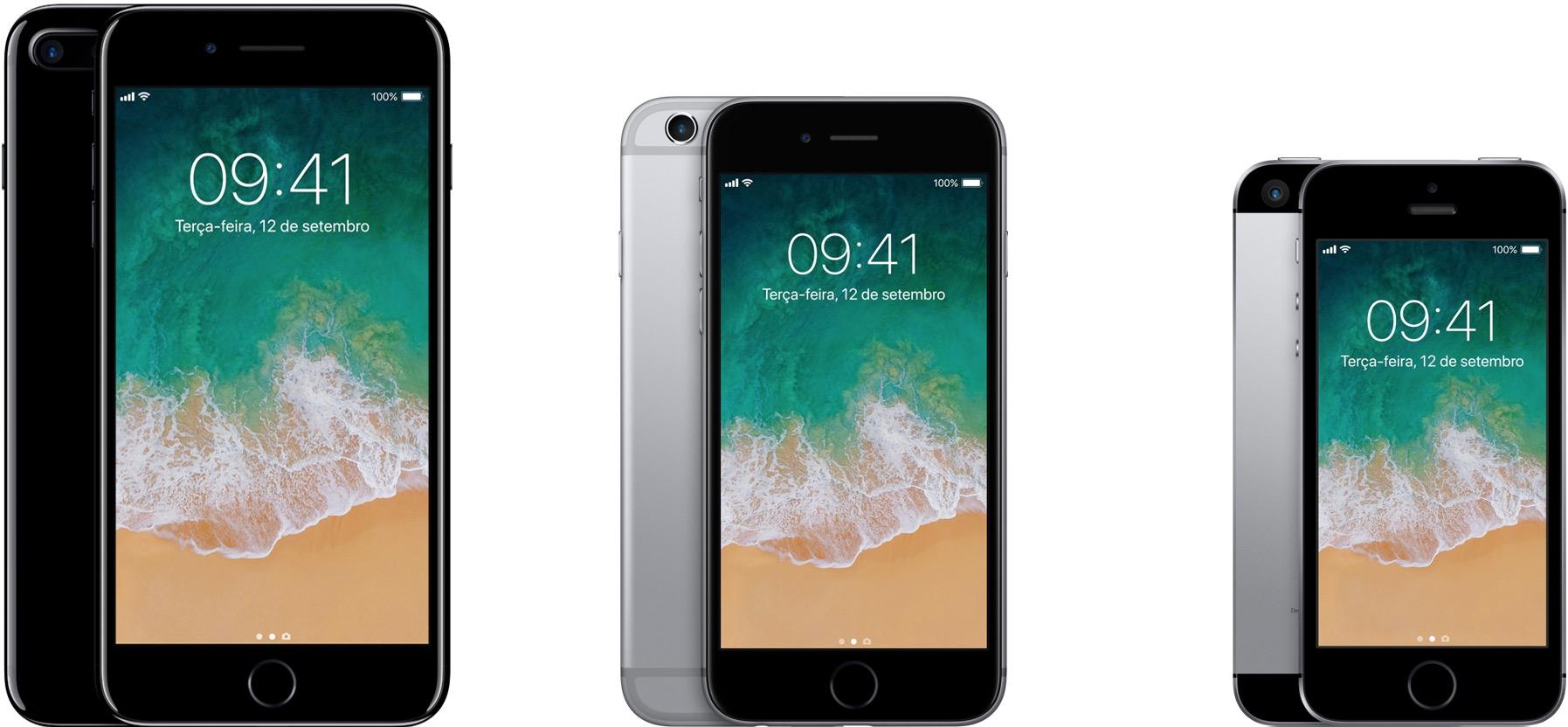 iPhones 7 Plus, 6s e SE