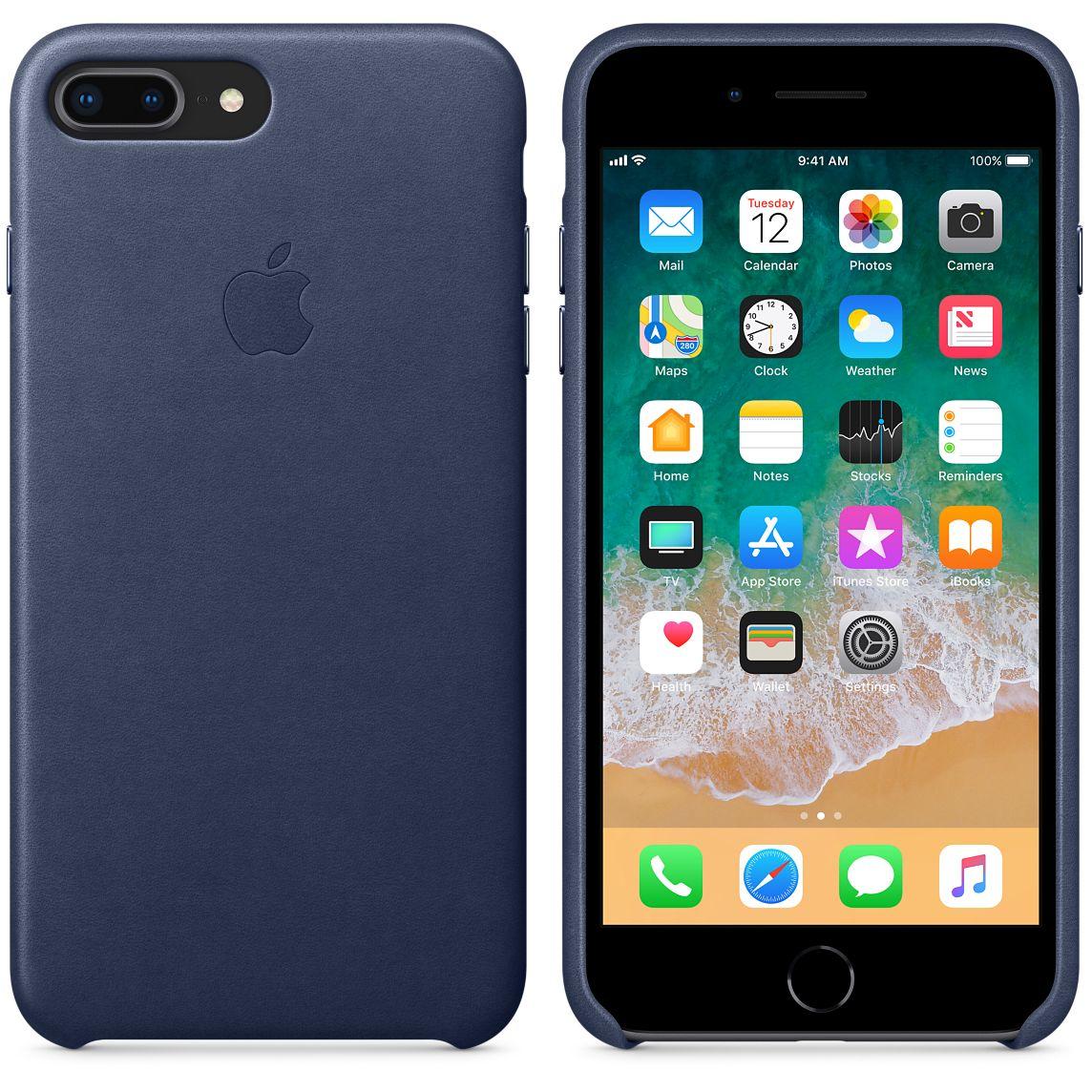 Capa de couro para iPhone 8 Plus/7 Plus - Azul meia‑noite