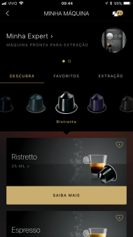 App da Nespresso conectado à Expert