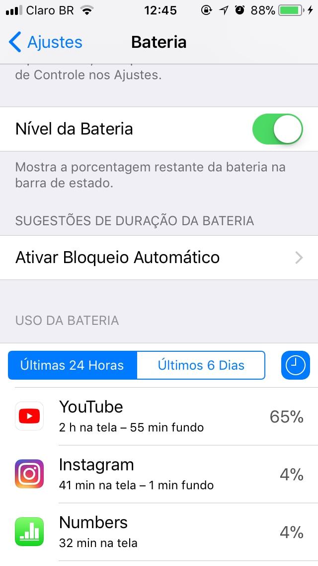 App do YouTube consumindo muita bateria
