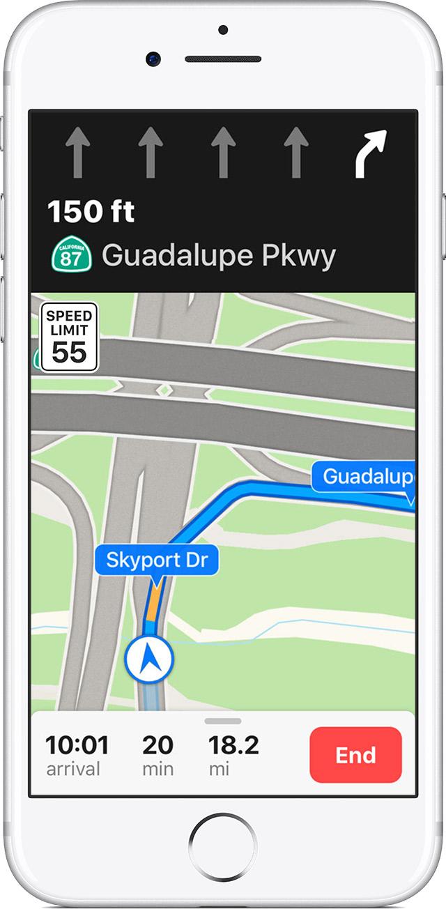 Recurso de Guia de Faixa dos Mapas da Apple