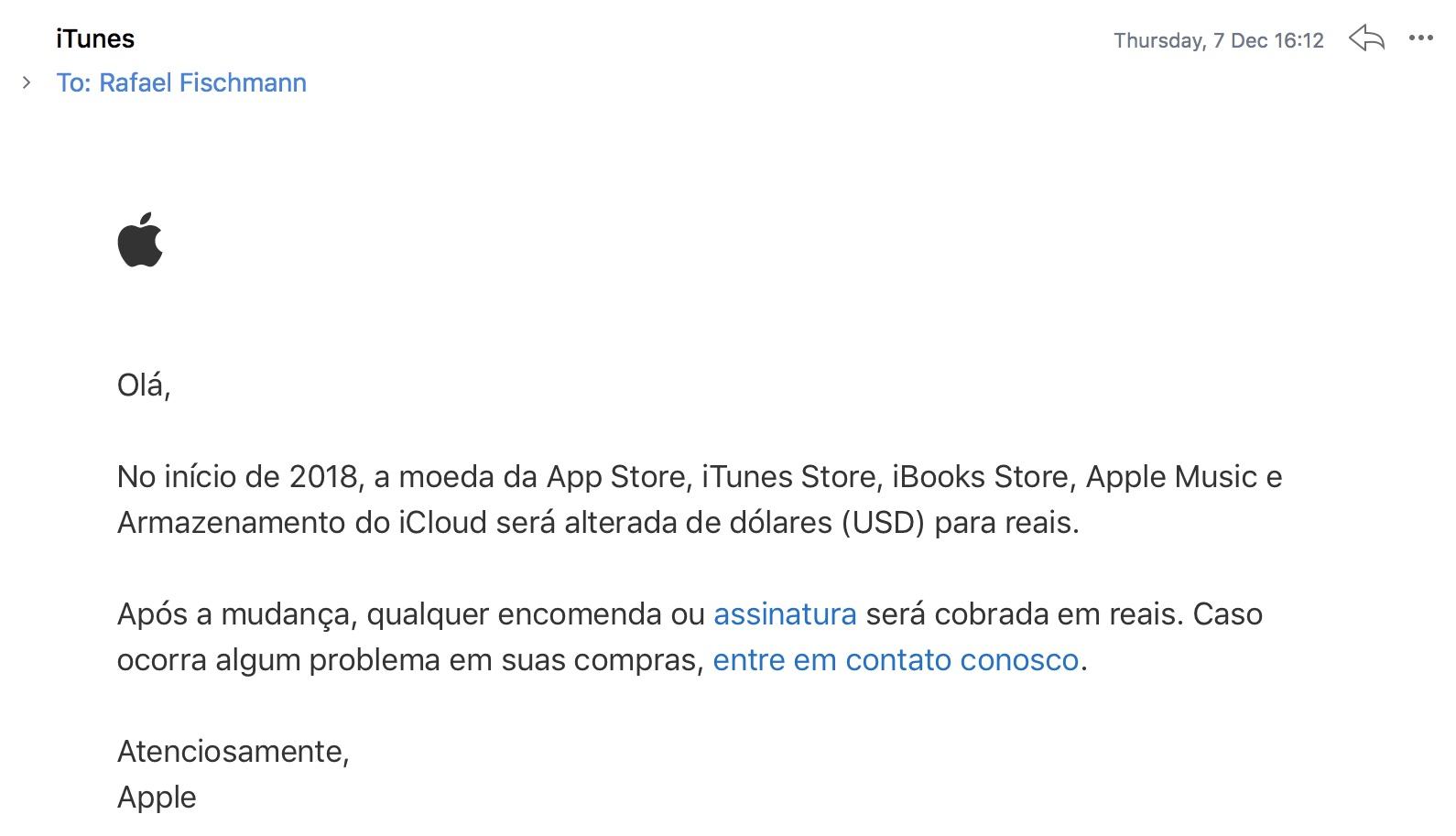 Aviso da Apple sobre lojas e serviços sendo cobrados em reais