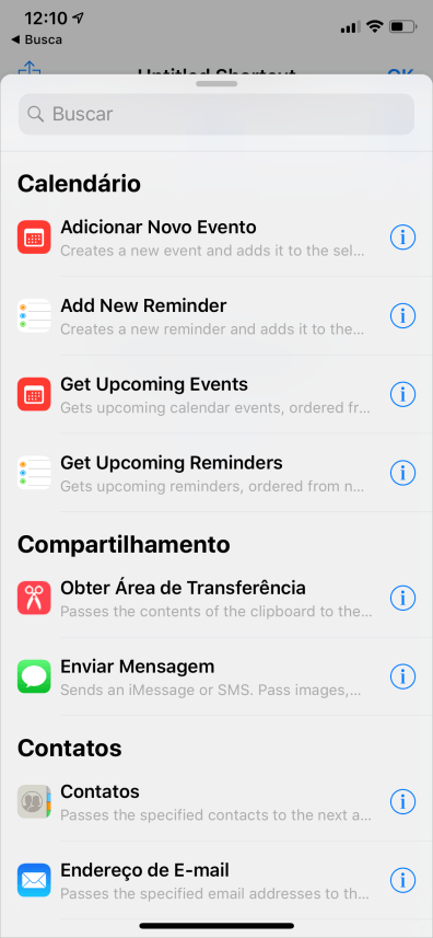 App Atalhos no iOS 12 beta