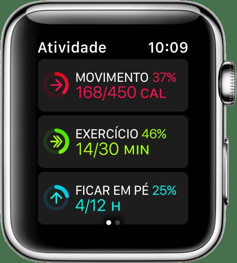 Anéis de atividade no Apple Watch