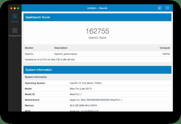 Teste de GPU com OpenCL no iMac Pro