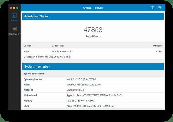 Teste de GPU com Metal no MacBook Pro