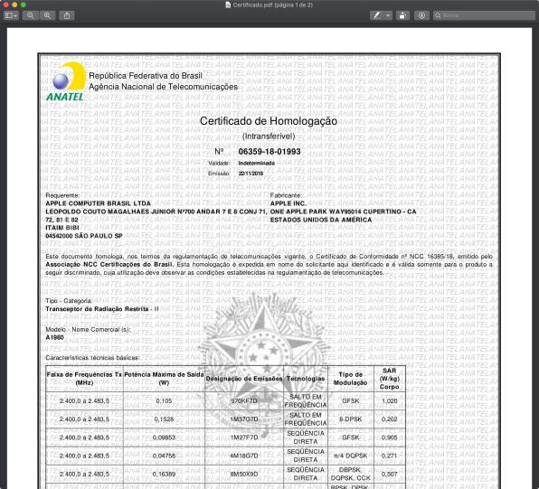 Certificado de Homologação da Anatel