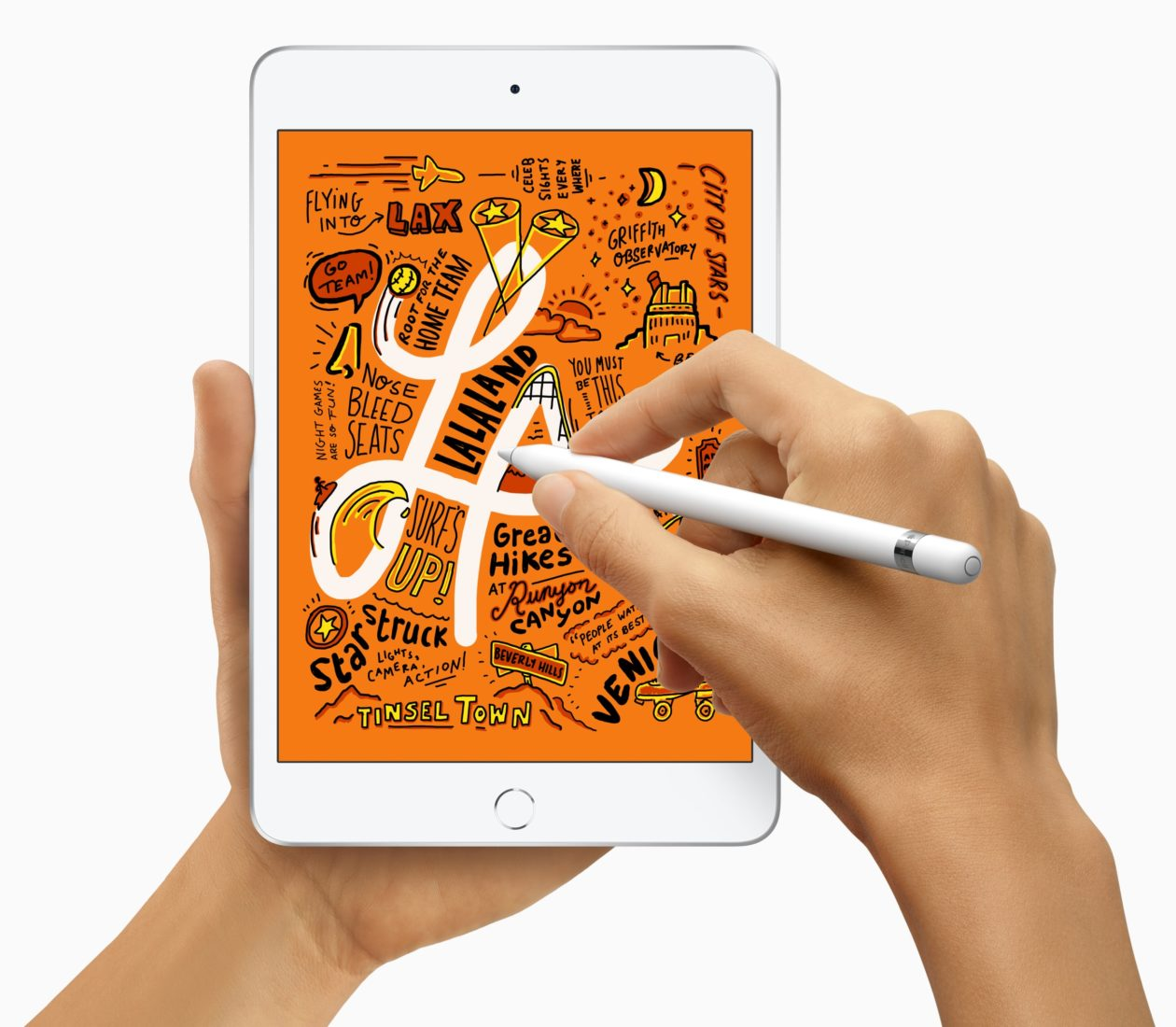 Novo iPad mini na mão com o Apple Pencil