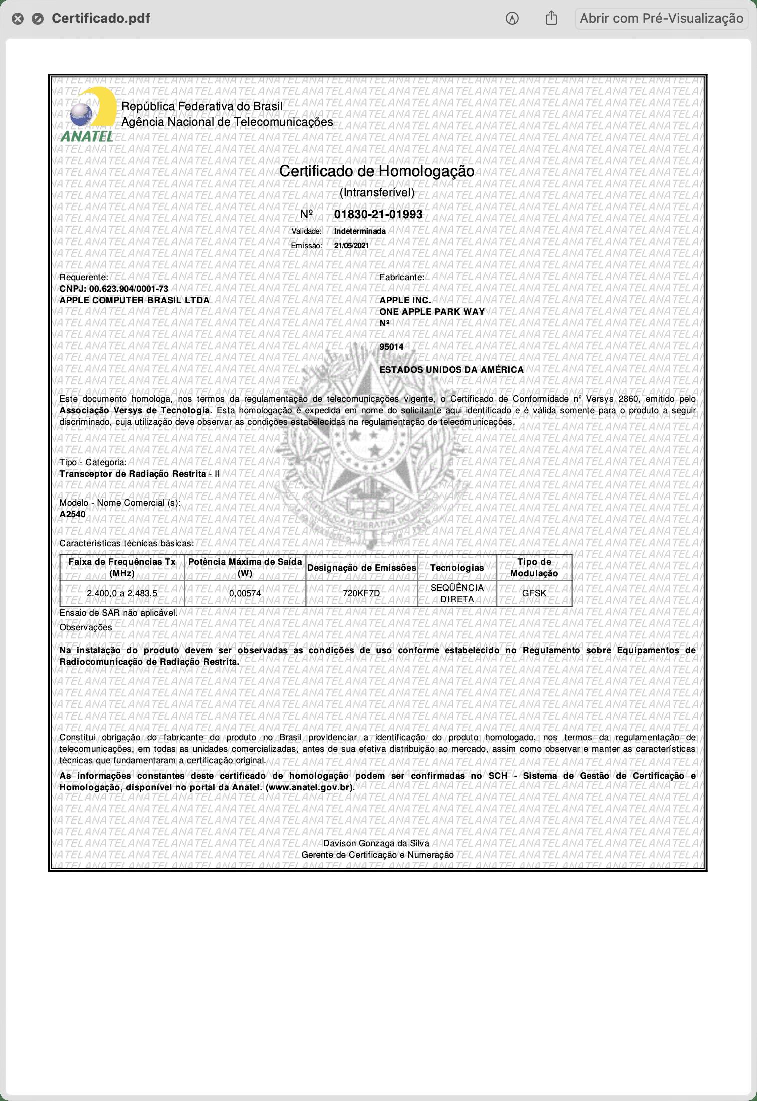Certificado de Homologação do Siri Remote (A2450)