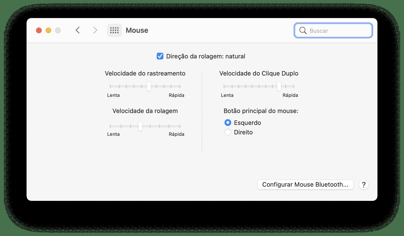 Ajustes do mouse no Mac