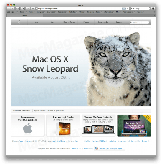 Mac OS X 10.6 Snow Leopard no Apple.com