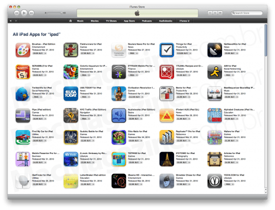 iPad App Store no iTunes