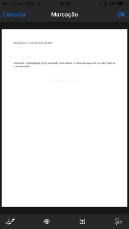 Assinando um documento no iPhone