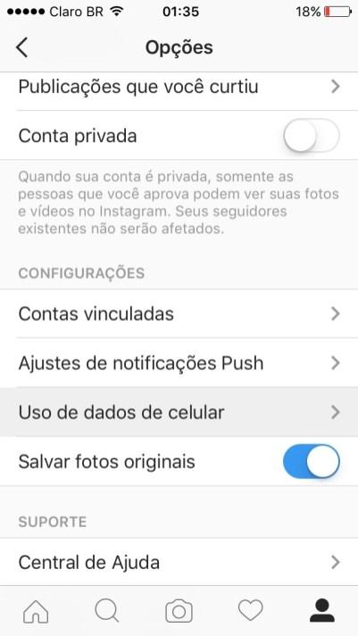 Tela de configurações do Instagram no iOS 9