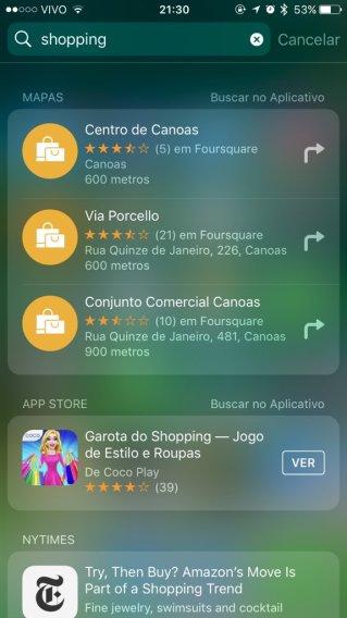 Busca do Spotlight rodando no iOS