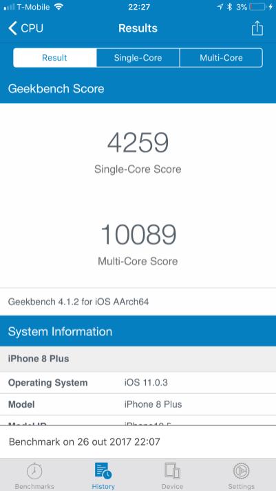 Benchmark do iPhone 8 Plus
