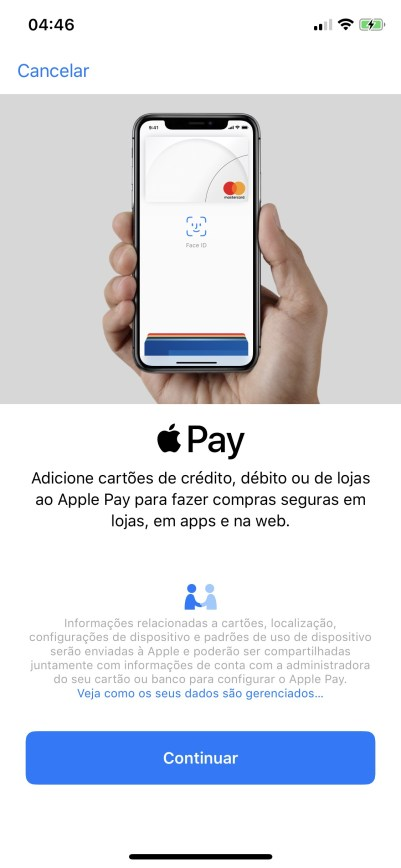 Cadastrando um cartão no Apple Pay Brasil