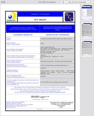 Certificado de homologação da Smart Battery Case do iPhone XS