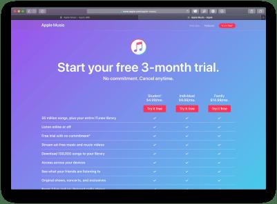 Trial do Apple Music nos EUA