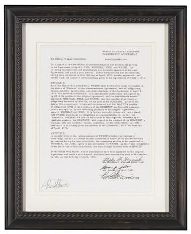 Documentos assinados por Wozniak, Jobs e Wayne