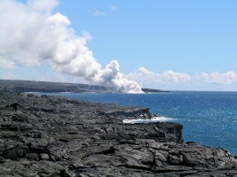 Steam from the Present-Day Lava Flow Entering the Ocean
