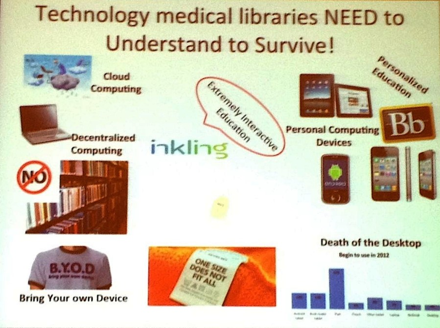 Slide from Emerging Technologies and New Medical Libraries presentation