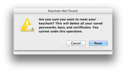 cannot reset my default keychain