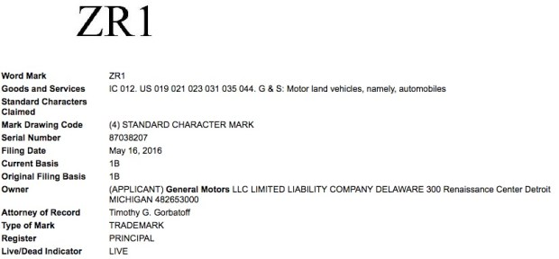 General-Motors-ZR1-Trademark-Application-USPTO